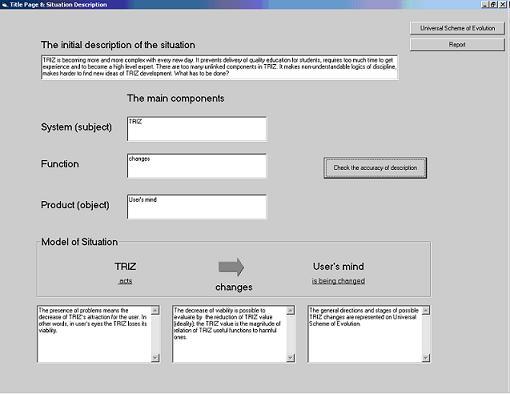 Исследуемая система - ТРИЗ; главная функция ТРИЗ - change User's mind - изменять мышление Пользователя.